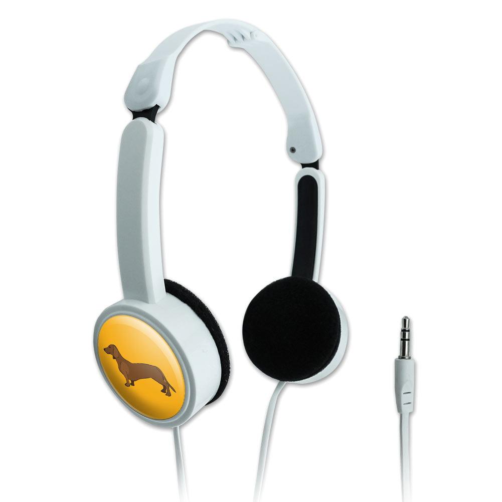 Dachshund Weiner Dog Cartoon on Yellow Novelty Travel Portable On-Ear Foldable Headphones