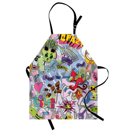 Art Apron Hip-Hop Inspired Colorful Graffiti Doodle Crazy Love Time Cool Skull Street Art Print, Unisex Kitchen Bib Apron with Adjustable Neck for Cooking Baking Gardening, Multicolor, by Ambesonne