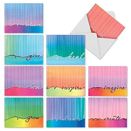 'M3322 LOVE LINES' 10 Assorted All Occasions Cards Feature Soft Watercolor Washes and Flowing Calligraphy with Envelopes by The Best Card (Best Washing Line Prop)