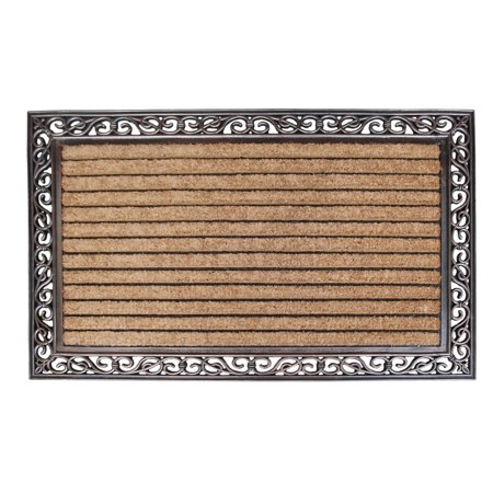 A1HC Striped Rubber And Coir Molded Large Double Door Mat With Copper Finished - 30