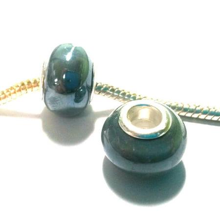 - 3 Beads - Gray Pearl Porcelain Silver European Bead Charm E0237