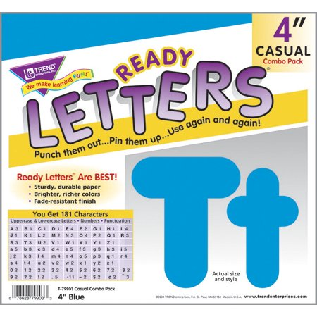 TREND enterprises 080043 Uppercase And Lowercase Casual Decorative Letter Set, 4 In. - Blue