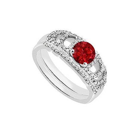 14K White Gold Created Ruby Engagement Ring with Cubic Zirconia Wedding Ring Sets of 1.10 CT TGW - image 1 de 2