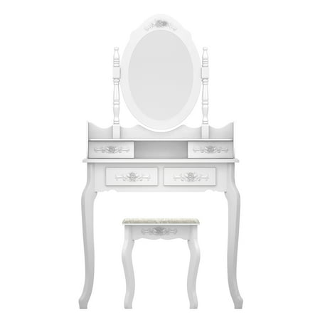 Makeup Vanity Set, URHOMEPRO Heavy-Duty Makeup Dressing Table with Oval Mirror Stool and 4 Drawers, Vanity Table for Bedroom, Bathroom, Closet, Makeup Desk Gift for Women Girls Kids, White, W00015 ()