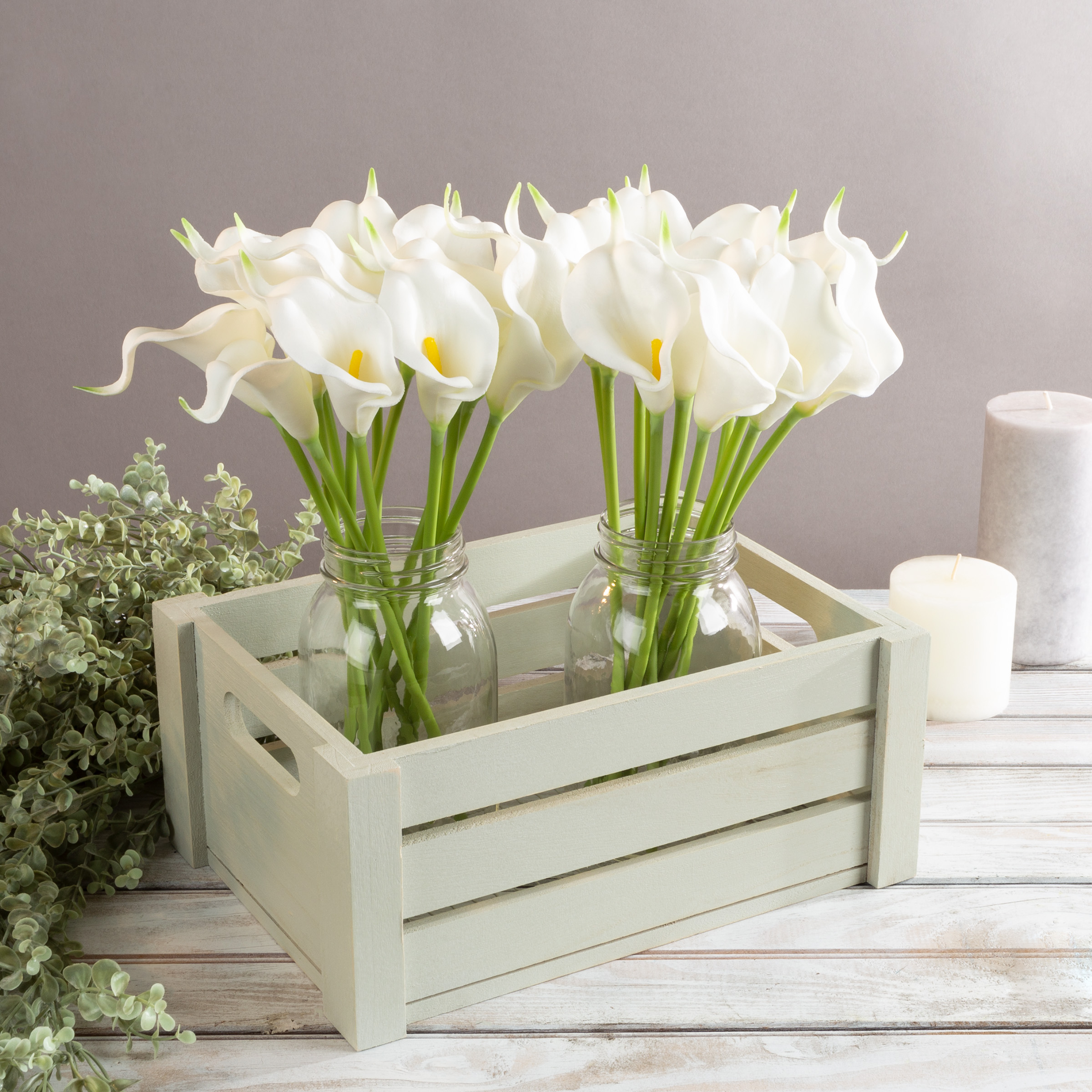 Pure Garden Artificial Calla-Lily with Stems - Real Touch Fake Flowers for Home Decor, Wedding, Bridal/Baby Shower, More- 24 Pc Set (White)