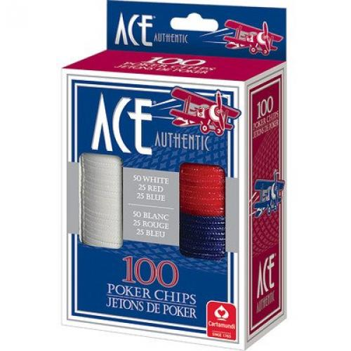 Cartamundi 1510 Ace Plastic Poker Chips 100 Count by