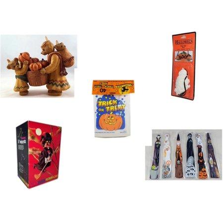 Halloween Fun Gift Bundle [5 Piece] - Indian Thanksgiving Bear Family Gathering Pumpkins Resin Figurine 5