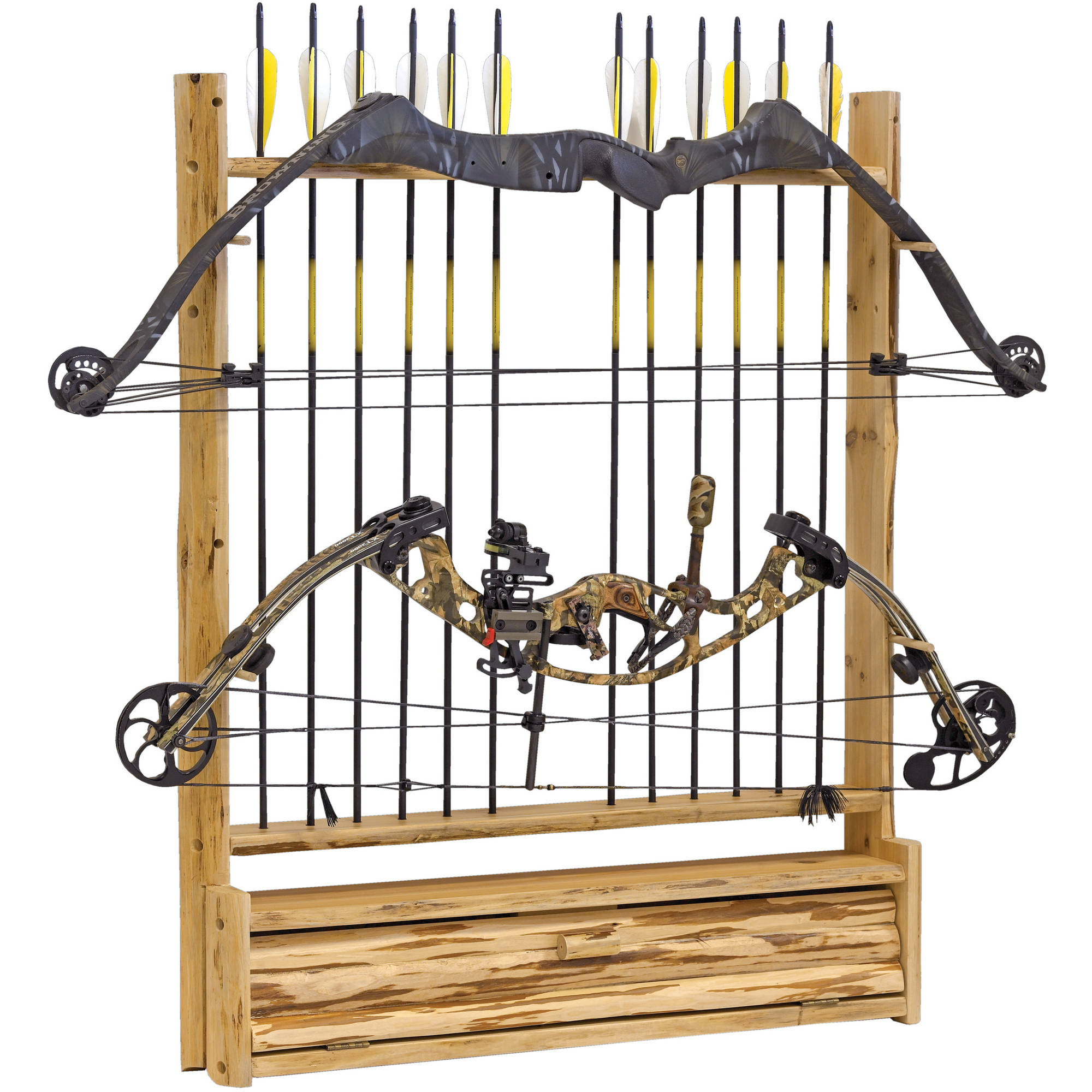 Rush Creek Creations 2 Bow 12 Arrrow Wall Storage Rack with Accessory Compartment
