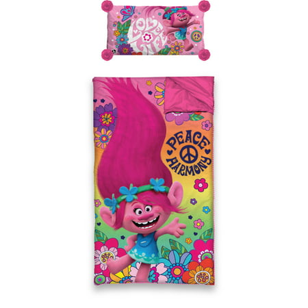 Pink Slumber Bag (DreamWorks Trolls Movie Slumber Bag with BONUS Pillow)