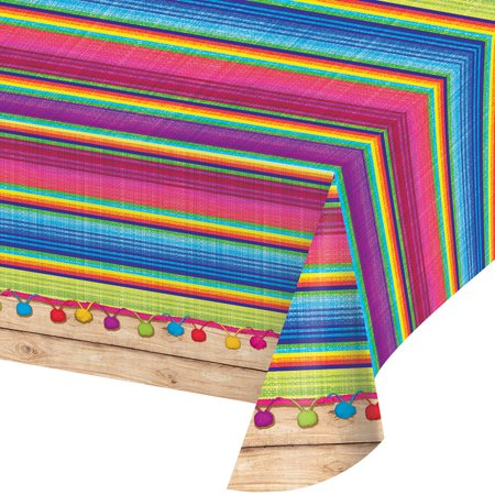 "Pack of 6 Vibrantly Colored Serape All Over Printed Plastic Table Cover 16.25""](Serape Tablecloth)"