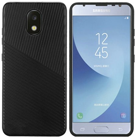 Insten Embossed Lines Dual Layer [Shock Absorbing] Hybrid Hard Plastic/Soft TPU Rubber Case Cover For Samsung Galaxy J7 (2018), Black - image 2 de 3