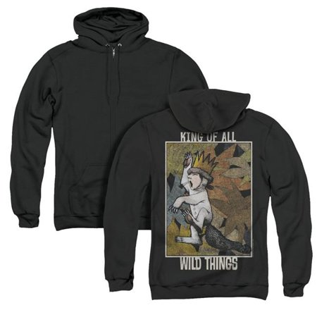 Trevco Sportswear WBM702BK-AZH-2 Where the Wild Things Are & King of All Wild Things Back Print Adult Zipper Hoodie, Black - Medium