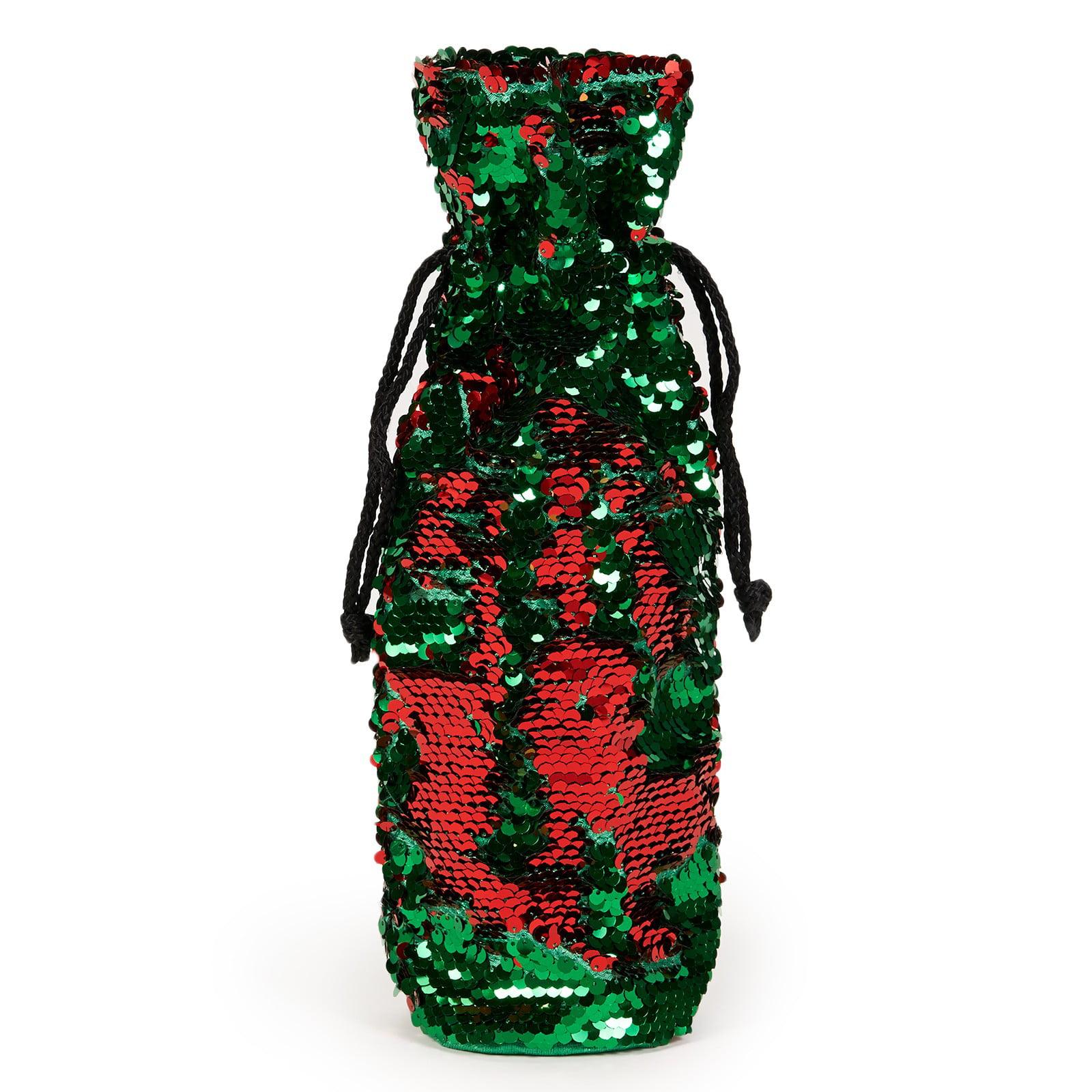 Generic Red & Gold Reversible Sequin Wine Bag