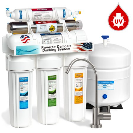 Express Water 6-Stage Reverse Osmosis Drinking Water Filter System with Ultraviolet (UV) Light Sterilizer, 50 GPD, Brushed Nickel Faucet (Modern) (Water Filter With Uv Light)
