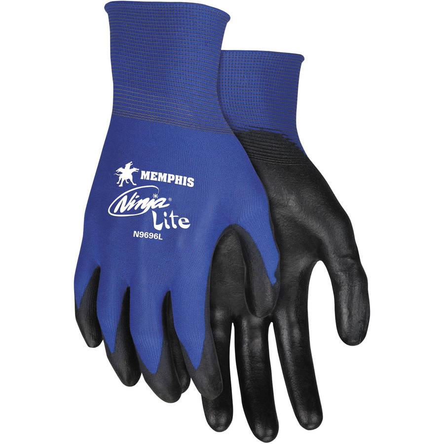 Memphis Ninja Lite Ultra Tech Tactile Dexterity Work Gloves, Large, Blue/Black, 12 count
