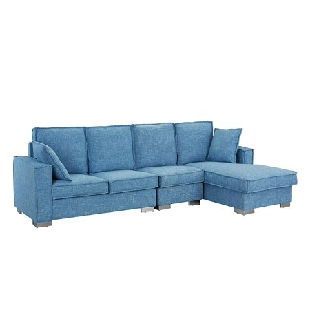 Modern Living Room Large Sectional Sofa L Shape Couch Light Blue