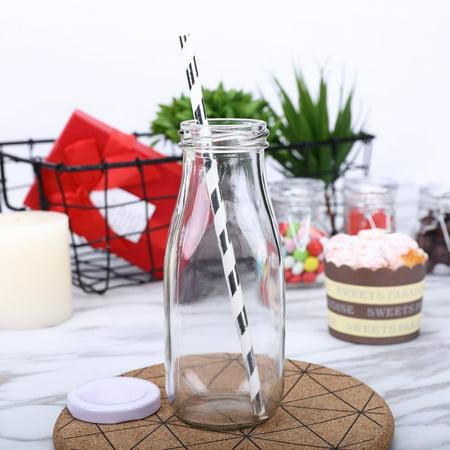 Glass Bottles With Lids (Efavormart 12 Pack 11 Oz Clear Glass DIY Decorative Favor Gift Milk Bottles With)