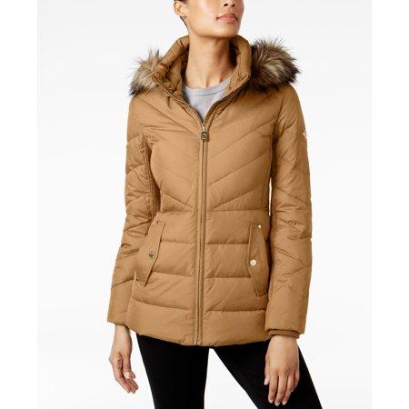 3cd140476e Michael Kors - Michael Kors Faux-Fur-Trim Chevron-Quilted Down Coat -  Walmart.com