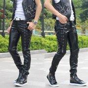 Men Punk Rock Style Leather Pants Black Personalized Trousers