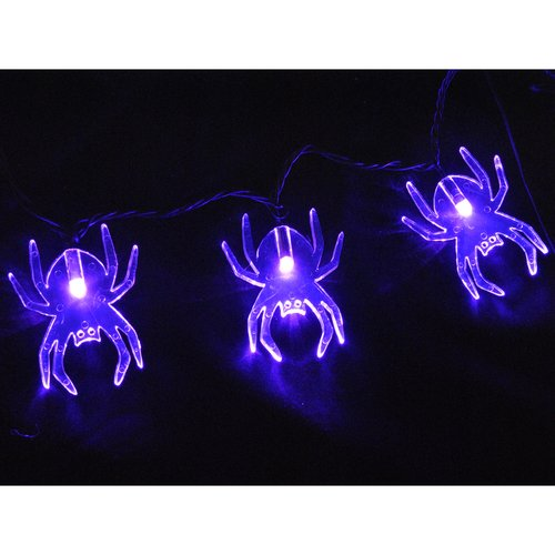 Queens of Christmas S-35SPPU-6W Standard 5MM Conical LED Purple 35 Lights White Wire Spider Lens 6in Spacing