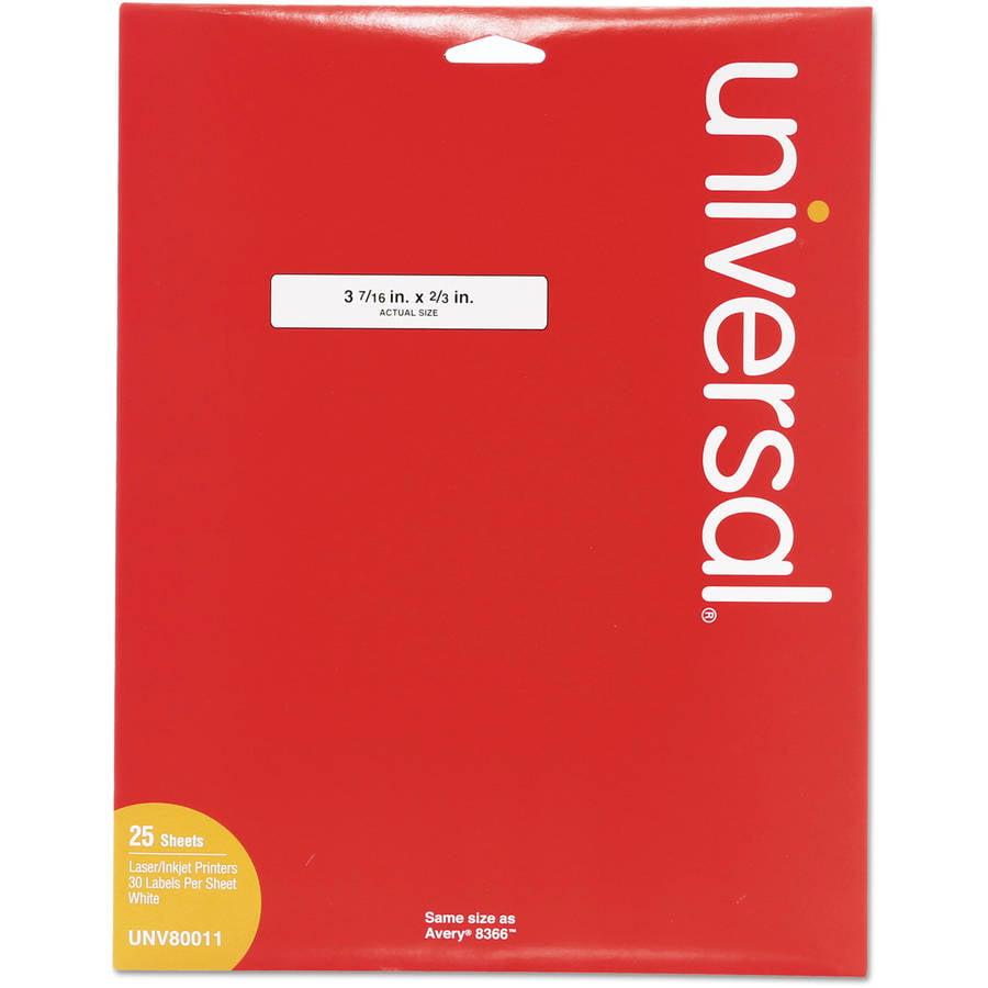 "Universal Laser Printer File Folder Labels, 3-7/16"" x 2/3"", White, 750/Box -UNV80011"