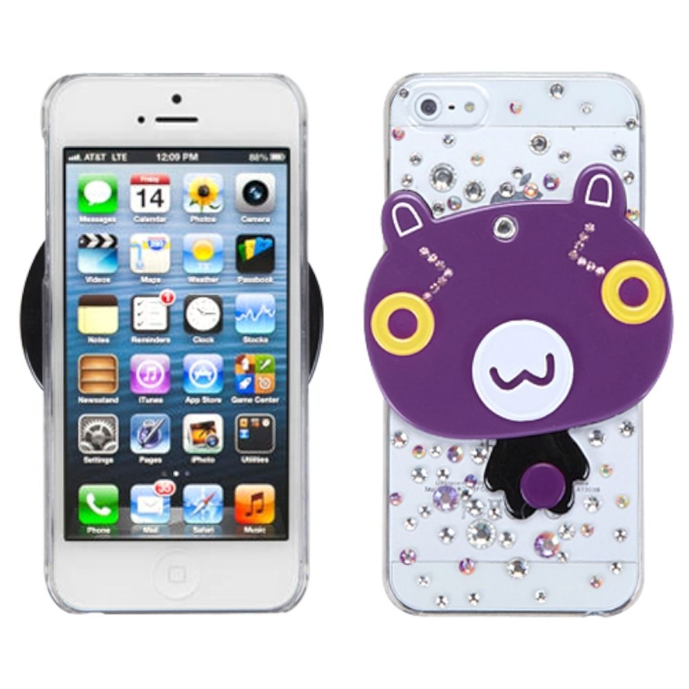 Insten Cartoon Bear Hard Cover Case w/Mirror For Apple iPhone 5/5S/SE - Purple/Clear