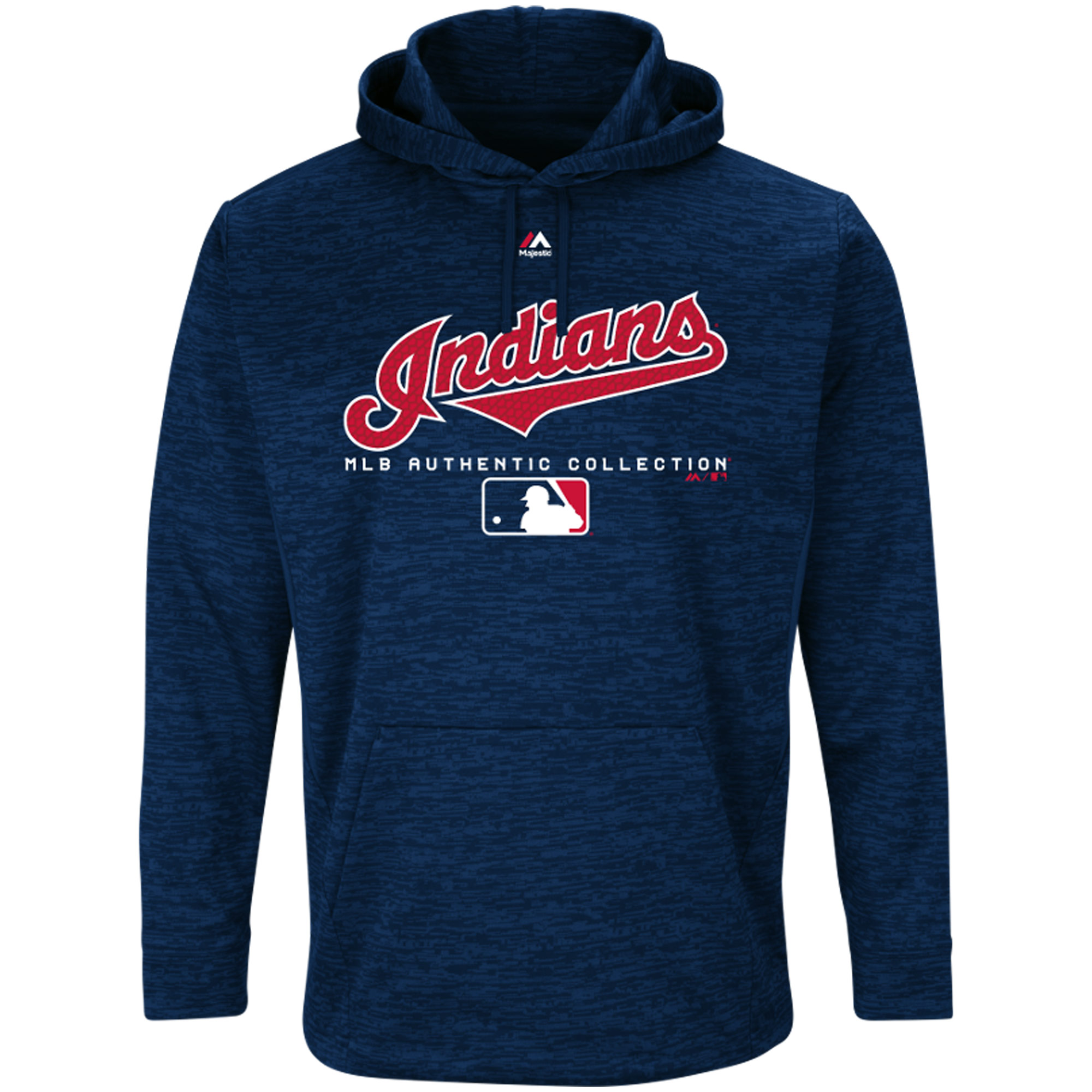 Cleveland Indians Majestic Authentic Collection Team Drive Ultra-Streak Fleece Pullover Hoodie - Navy