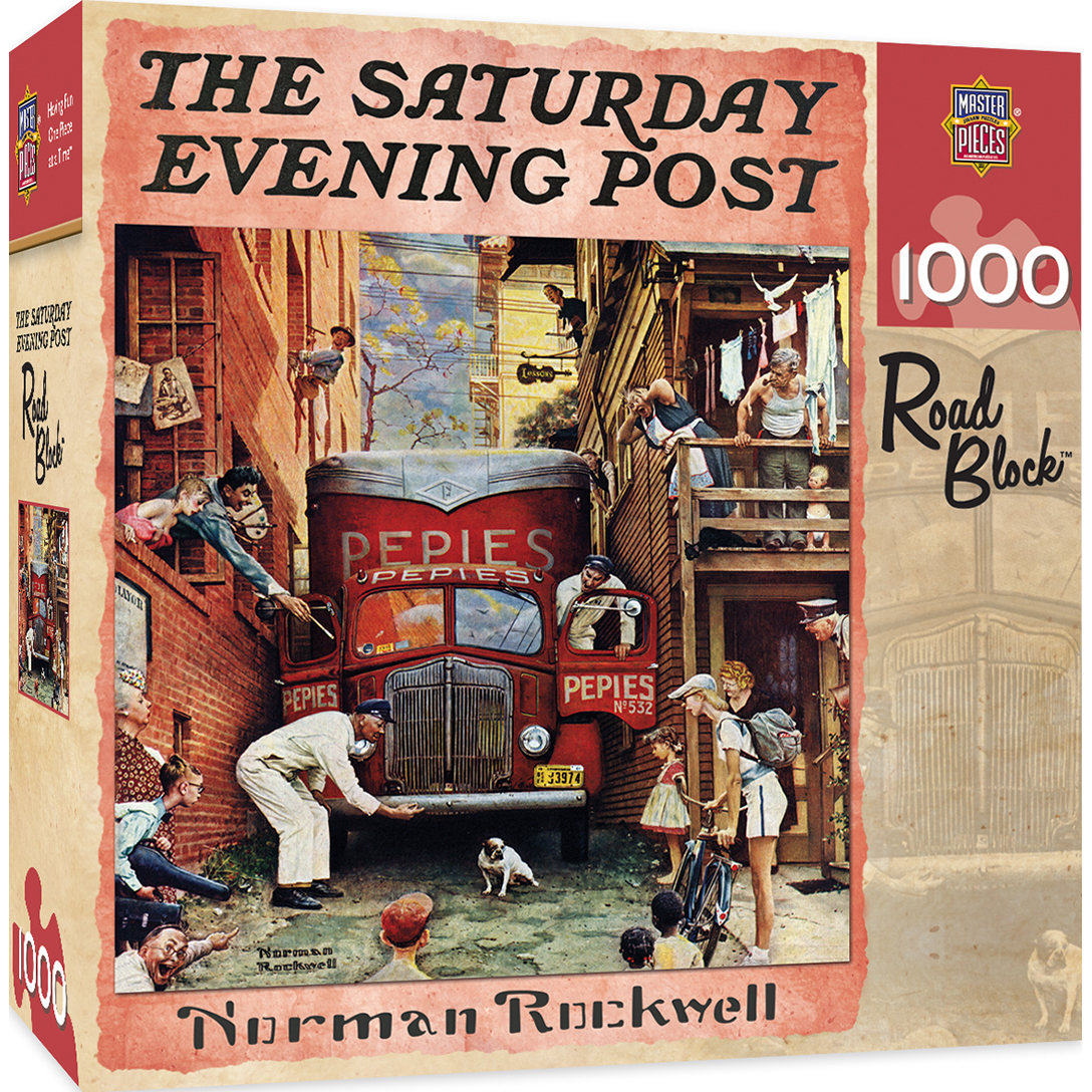 Saturday Evening Post Road Block 1000 Piece Jigsaw Puzzle by MasterPieces