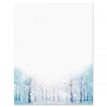 Winter forest Christmas Letter Papers - Set of 25 Christmas stationery papers are 8 1/2