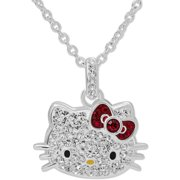 Hello Kitty Fine Silver-Tone Hello Kitty Crystal Pendant with Chain
