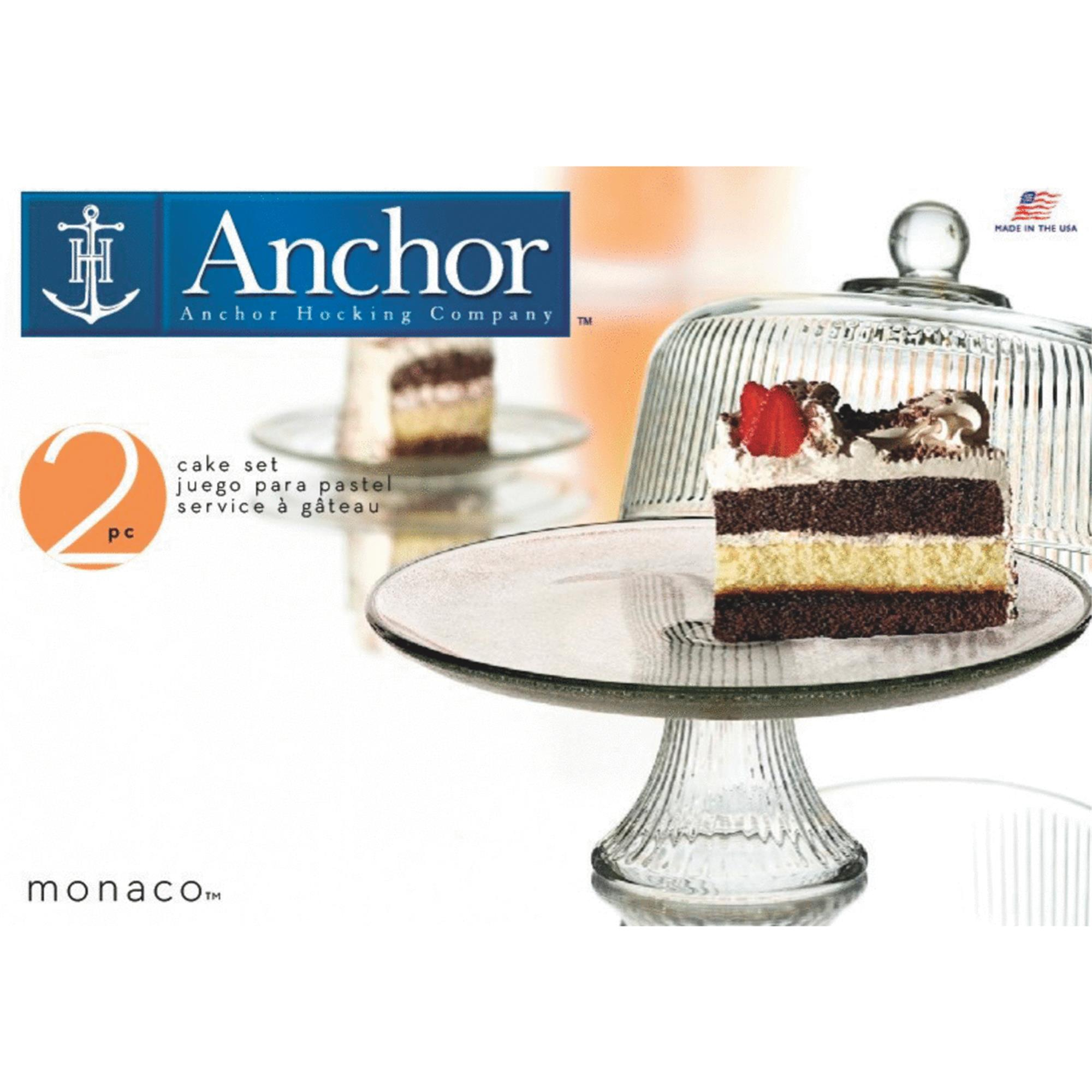 Anchor Hocking® 86031L13 Monaco Glass Cake Stand & Cover Set