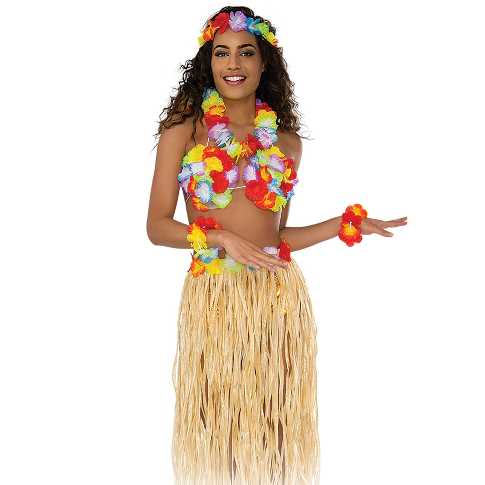 3 Piece Hawaiian Hula Set Summer BBQ Womens Grass Skirt Tiki Ladies Shell Bra