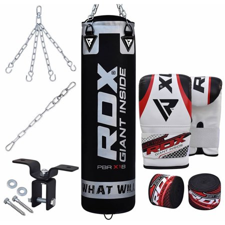 RDX 8 Piece Heavy Bag Kit Punching Boxing Empty Set 60 LB When Filled