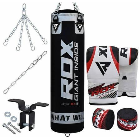 RDX 8 Piece Heavy Bag Kit Punching Boxing Empty Set 60 LB When Filled 60 Lb Bag Concrete