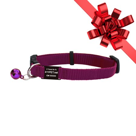 Track N Guard 1X Protective Break Away Cat Collar & I.D. Tag (Purple) Purple Safety Cat Collar