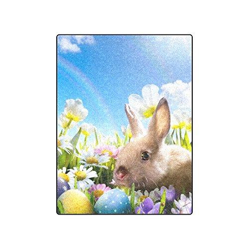 CADecor Colorful Easter Eggs Bunny Rainbow Fleece Blanket Bedroom Wrap Throw 58x80 inches