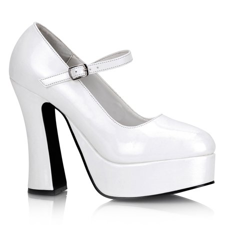 5 Inch Cute High Heel Mary Jane Chunky Heel Platform Pump White - 7 Inch High Heel Pumps