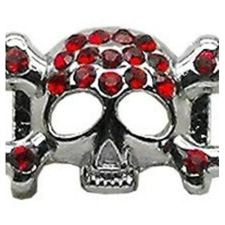 """3/8"""" Skull Slider Charm Red 3/8"""