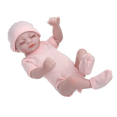 11'' Sleeping Realistic Soft Full Body Silicone Vinyl Reborn Baby Girl Dolls Pink Clothes Lifelike Realike Alive Newborn Reborn Babies Handmade Weighted Alive Doll for Toddler Gift