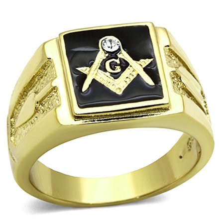 Men's Stainless Steel 14K Gold Ion Plated Crystal Masonic Lodge Freemason Ring Size 11