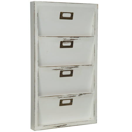 Gallery Solutions Distressed White Wall Mail Organizer Letter Bin (Wall Mail Organizers)