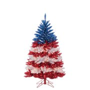 Gerson 5Ft. Patriotic American Tree in Red, White and Blue with 495 Clear Lights and 5 Twinkle Lights on Top Section