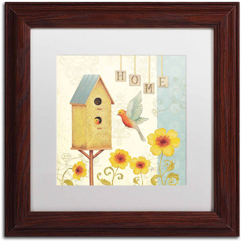 "Trademark Fine Art ""Welcome Home I"" Canvas Art by Daphne Brissonnet, White Matte, Wood Frame"