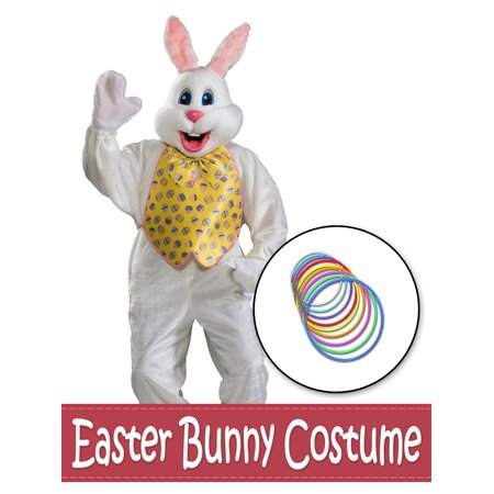 Bunny Vest (Deluxe Easter Bunny Mascot with Yellow Vest and Glow Necklaces Costume Kit -)