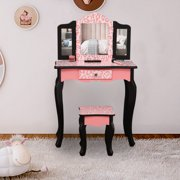 UBesGoo Wooden Vanity Table & Stool Set,Kids Princess Makeup Dressing Table with Folding Mirror