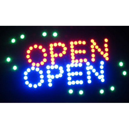2xhome - Open Sign - Large Letters High Visible Bright Colors Led Moving Flashing Sign Motion Light Chain 19x10 for Business Drink Restaurant Diner Cafe Bar Coffee Shop Store Wall Window Display ()