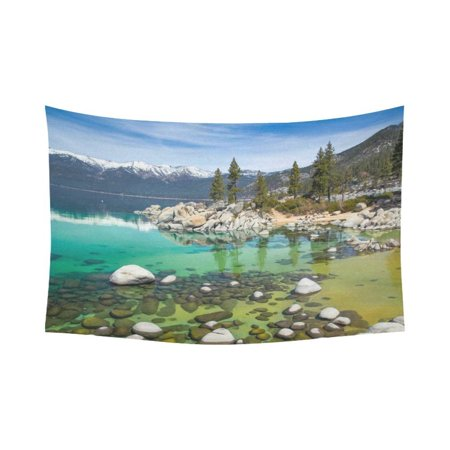 PHFZK Tahoe Beach With Crystal Turquoise Water Wall Art Home Decor, Sierra Nevada Rocks Mountains Lake Trees California Tapestry Wall Hanging 90 X 60 Inches (Rock Tapestry Wall Hanging)