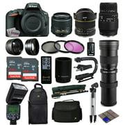 Nikon D5500 DSLR Digital Camera 18-55mm Lens + 6.5mm f/3.5 Fisheye Lens + 70-300mm DG Lens + 420-1600mm f/8.3 HD Telephoto Lens + 128GB Memory + Filters + Flash + Backpack + Case + Tripod + Monopod