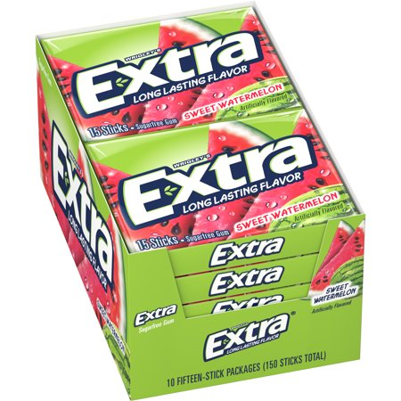- Extra, sugar free sweet watermelon chewing gum, 10 ct