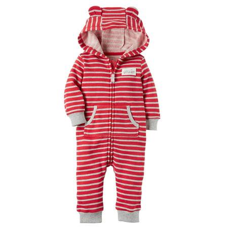 Carter's Baby Boys' Hooded Brushed Fleece Jumpsuit, 24 Months